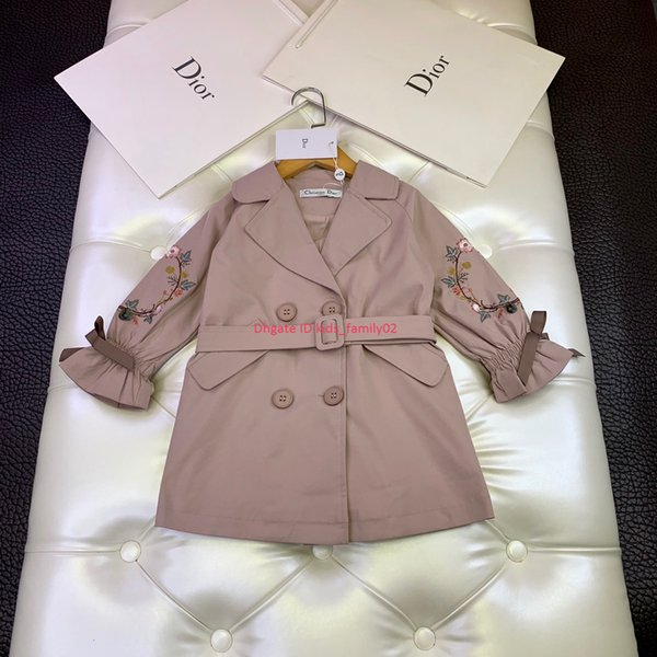 Girl windbreaker new kids designer clothing autumn waist design cotton material windbreaker coat flower embroidery news