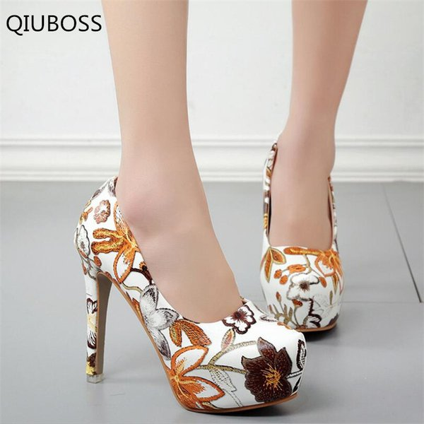 Qiuboss Fashion Women Sexy High Heels Platform Stiletto Pumps Ladies Floral Printing Shallow Slip On Pointed Office Shoes Q324
