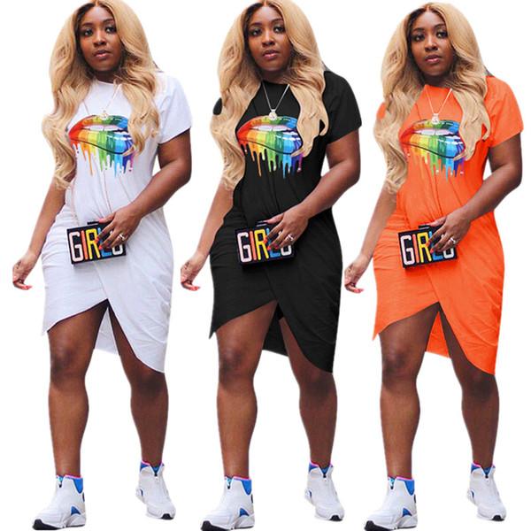 Abbigliamento femminile Gonne monopezzo Abiti estivi manica corta Arcobaleno increspato Bocca labbra Stampa Abito moda Beach Clubwear sexy 2019 C72309