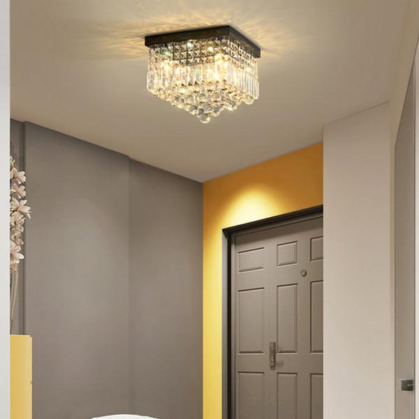 Modern crystal ceiling chandelier lights flush mount crystal chandeliers lighting square led ceiling lamps for hallway balcony corridor