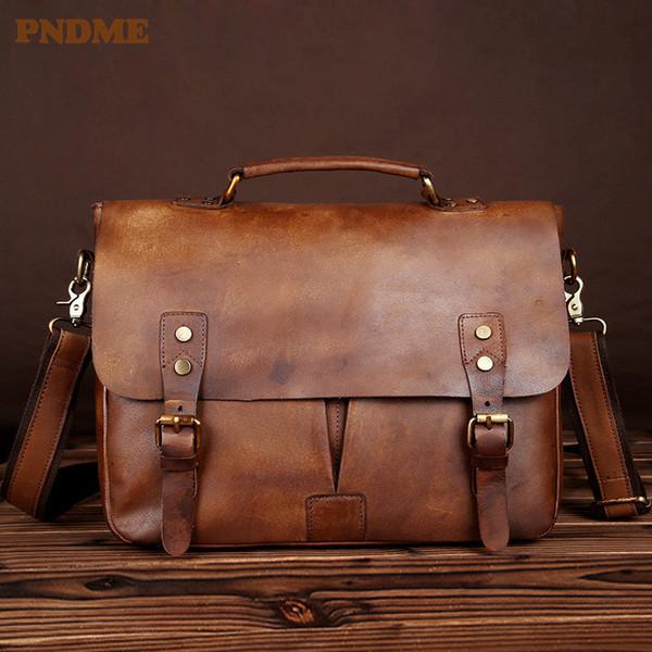 Maletín de cuero de alta calidad para hombres de PNDME, de alta calidad, hecho a mano, hecho a mano, en cuero genuino, bolsa de trabajo, bolsa de trabajo portátil