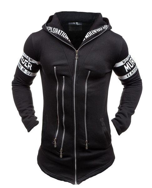 Fashion-New Fashion Metrosexual Leisure Jacket Zipper Hoodie Man's Coat Letters Printing Outer Wear Man's Coat Blakc Gray