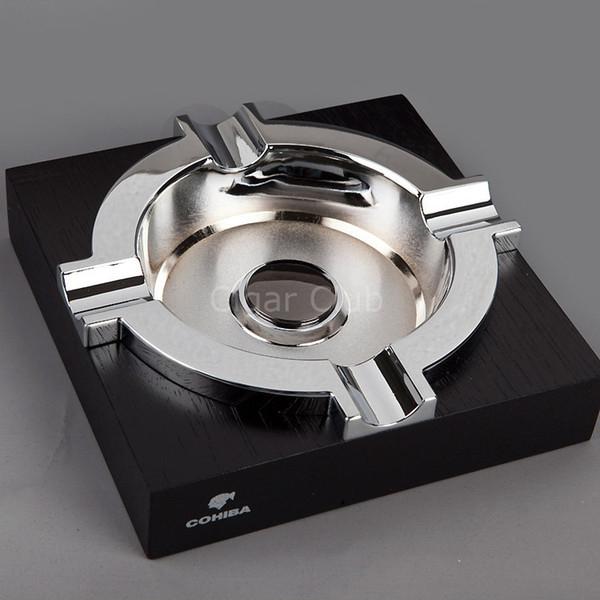 Premium COHIBA Holztisch Creative Black Sliver Metall Zigarre Aschenbecher Für 4 Zigarren
