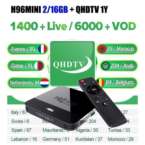 Бельгия Новые 2 Гб оперативной памяти 16 Гб H96mini H8 с QHDTV 12мес подписки код APK 1год программы Европа Франция арабский андроид окно ТВ-французски