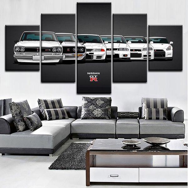 Tuval Boyama Hd Baskı Modüler Yapıt Modern 5 Parça Nissa Skyline Gtr Araba Resimleri Ev Dekoratif Duvar Sanatı Benzersiz Poster J190707