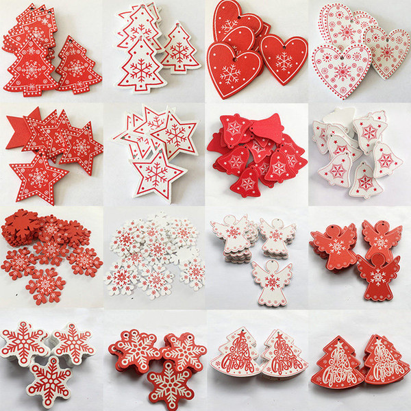 10pcs/Lot 5CM Natural Wood Ornaments Pendant Hanging Gifts Heart Star Snowflakes Christmas Tree Home Wedding Decorations 62082