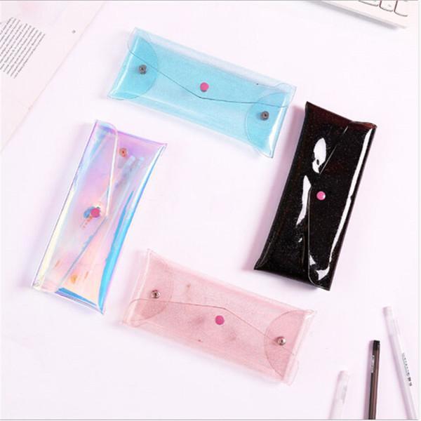 fresh student candy color fashion korean little makeup pen storage case simple transparent laser bag girl lovely pencil bag