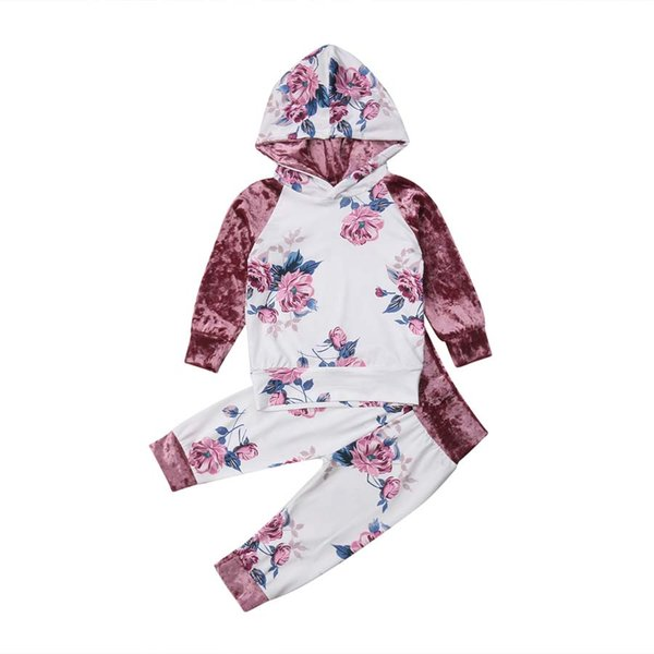 Kids Baby Girls Outfit Hoodie Tops Pants Set Toddler Autumn Clothes Tracksuit Velvet Flower Hooded Pencil Pants Children's Sets
