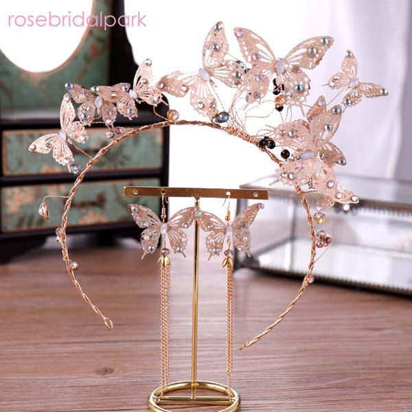 17973ecec350 Mariposa al por mayor corona de cristal Tiaras nupcial novia aretes diadema  Barroca Accesorios de la