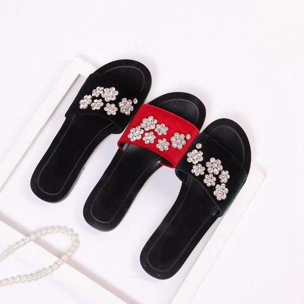 womens fashion Velvet rhinestones black slide sandals girls causal beach slippers flip flops size euro 35-43