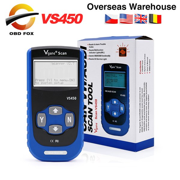Vgate VS450 OBD2 Diagnostic ABS Airbag Scanner Tool For VAG serial Scan Auto Diagnosis OBD 2 OBDII Scanner DHL free