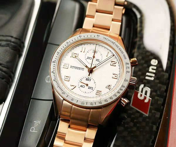 2019 Classic Luxury Relógios De Pulso Suíço 7750 Cronógrafo Automático 28800 vph Rose Gold Aço Inoxidável 316L Sapphire Crystal Super luminous