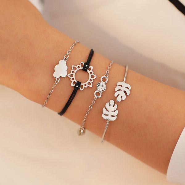 Multilayer Bracelet 4 Pcs/Set Crystal Leaves Cloud Sun Leather Chain Bracelet Women Creative Color Gold Silver Bracelet Set