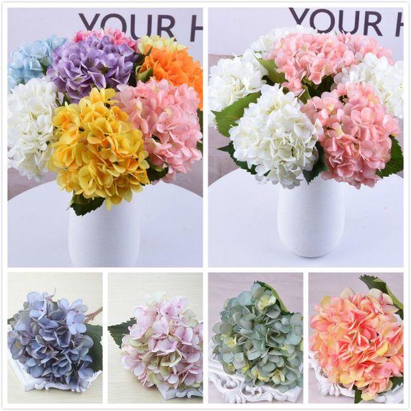 18 цветов искусственного цветка гортензии поддельных шелка одиночная реальные сенсорная гортензия букет для свадьбы Centerpieces домой партий декоративных цветов