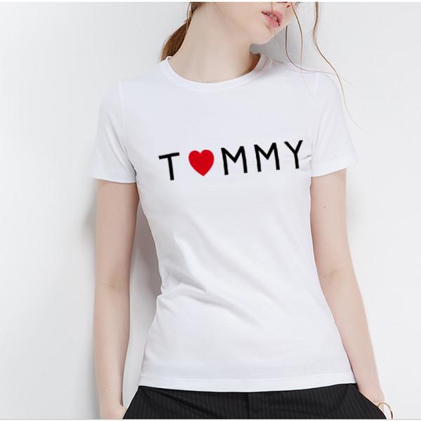 Rihanna S-XL Verano Mujer 100% camiseta de algodón New Arrive Camiseta de algodón de manga corta para mujer Camiseta blanca con cuello o camiseta suelta