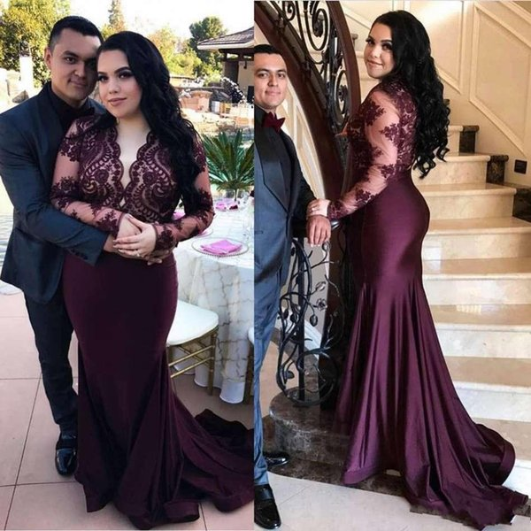 Abendkleider New Mermaid Prom Dresses 2019 Long Sleeve Plunging Neckline Lace Formal Evening Gowns Cocktail Party Ball Dress Reflective Gown