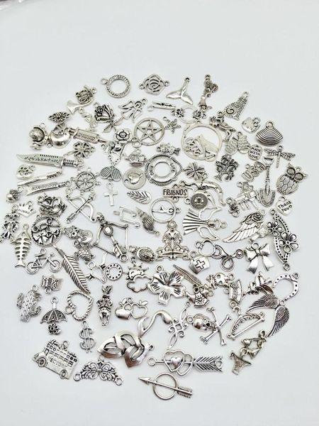 Moda mix 80 adet çiçek Taç kanatları balık aşk kalp charms fit DIY El Yapımı kolye küpe bilezik charms Takı Yapımı