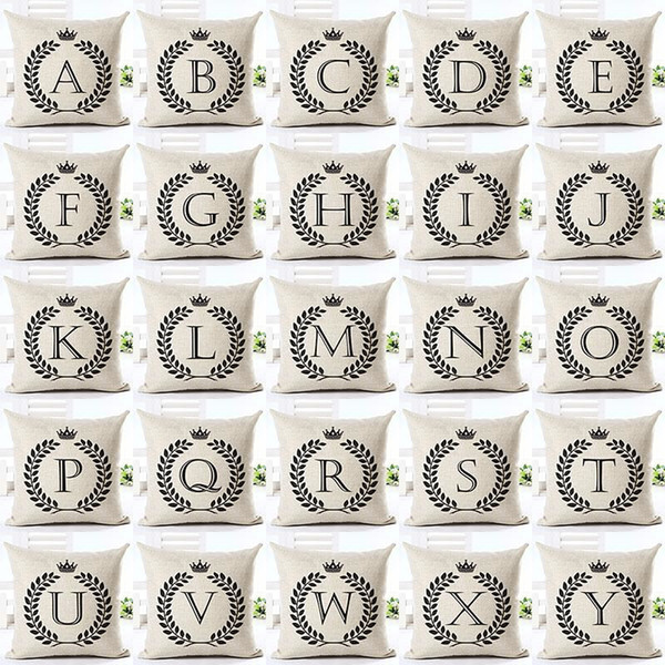 Page One Simple Alphabet Pillows Pillowcase Cotton Pillow Case Coverative Linen Letter Cushion Fashion