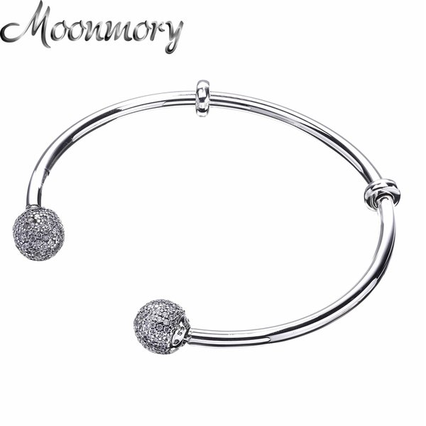 Moonmory Moments Silver Open Bangle With Pave Caps S925 Sterling Silver Bead Bracelet With Clear Zircon For Woman Diy Jewelry Y19051002