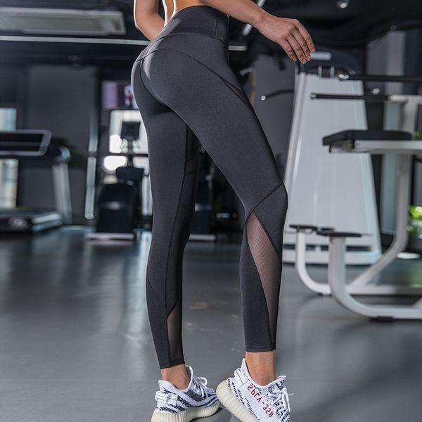 2019 New Black Blue Mesh Seamless Leggings Sport Women Fitness Sports Wear for Women Gym Leggings Sport Femme Yoga Pants