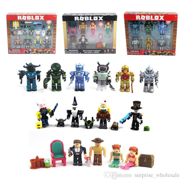 Фигурки игрушки 5 стилей Roblox Виртуальный мир Roblox строительный блок кукла с аксессуарами двухцветная коробка упаковочная сумка