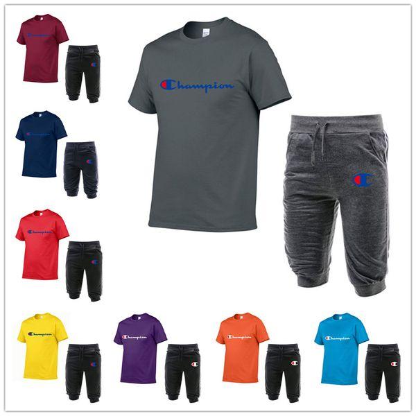 Champion Brand Mens Designer Tracksuit Short Sleeve T Shirt + Capri Pants Trousers 2 Piece Shorts Set Fashion Men Jogger Sportswear C62603