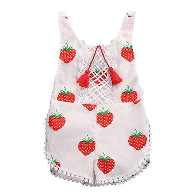 Kids Sunsuit Clothing Newborn Baby Girls Tassel Romper Clothes Strawberry Sleeveless Backless Halter Jumpsuit Outfits