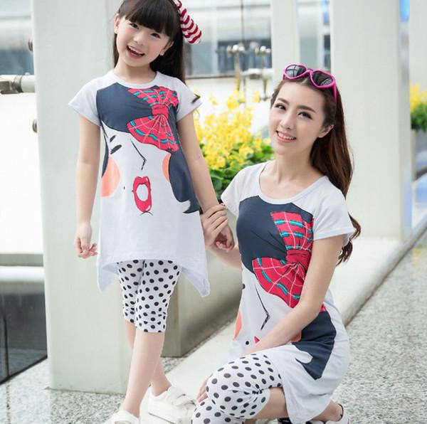 Mother and daughter matching outfits kids cartoon Bows character printed short sleeve dress+polka dots half leggings 2pcs sets F6502