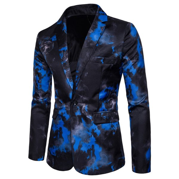 Men's suit jacket spring and autumn fashion new men's single button casual flame print suit dress
