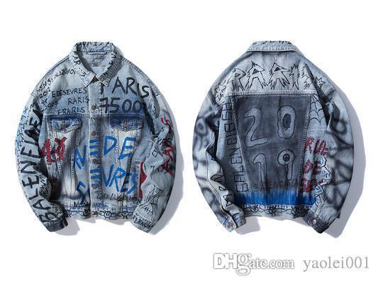 Mens casual slim jacket 2019 street hand-painted graffiti letters men and women couples tide brand denim jacket