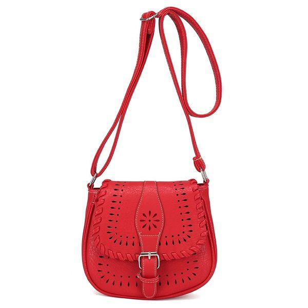 Fashion Women Saddle Crossbody Bag Hollow Out Vintage Pu Leather Shoulder Bags Bolsa Feminina Bohemia Messenger Handbags Ladies #193527