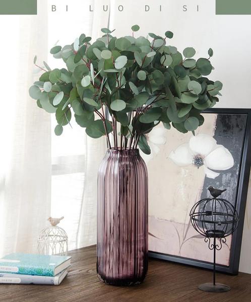Falso fiore di simulazione Vegetazione singolo ramo foglia di eucalipto rotonda decorazione della casa artificiale regalo bouquet di nozze fiore falso di alta qualità