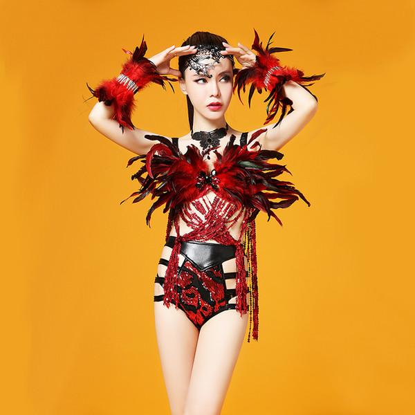 Preto Vermelho Feather Dance Traje Performance de Palco Outfit Bandage Lantejoulas Borlas Set Mulheres Dança Desgaste Singer Conjunto de Roupas