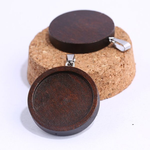 onwear 10pcs brown wood cabochon base 25mm dia blank wooden pendant trays diy jewelry accessories for necklace making