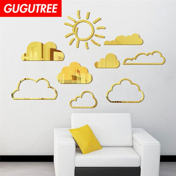 Decorate Home 3D cloud cartoon mirror art wall sticker decoration Decals mural painting Removable Decor Wallpaper G-311