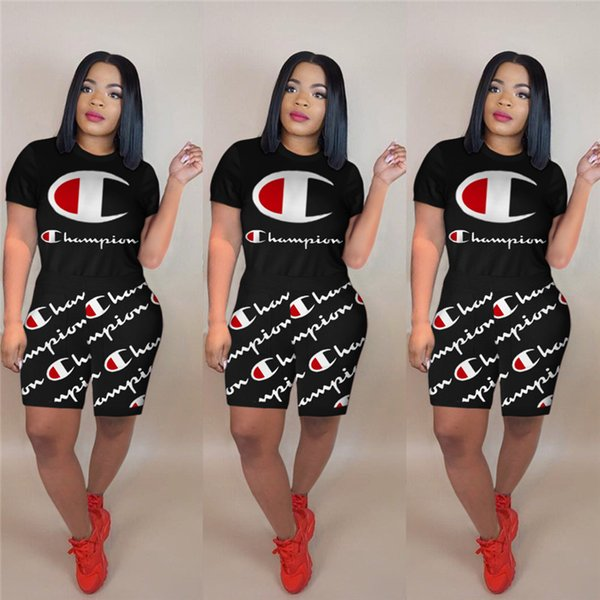 Champions Letter Tuta Tuta T-shirt + Pantaloncini 2 pezzi Completi Lady Casual Outfit HOT A3197