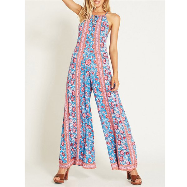 Feitong Bohemia jumpsuit Women Sexy Plus Size Print Camis Long Loose rompers womens jumpsuit fashion backless bodysuit