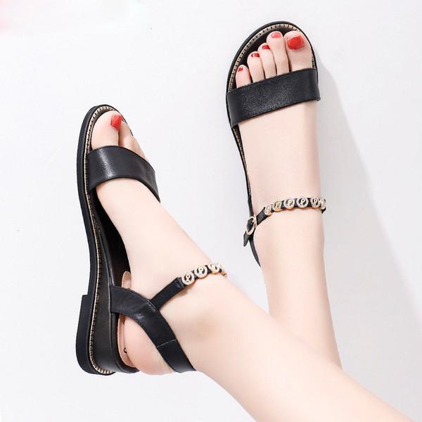 c7e6dd23b Размер 34-43 натуральная кожа женская обувь пряжка летние сандалии  повседневная хрустальная обувь на низком каблуке женские босоножки на  танкетке