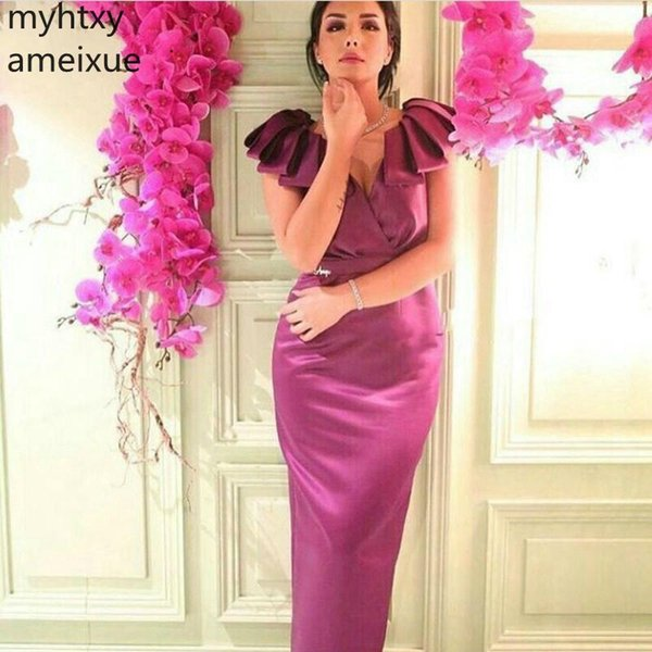 2019 Ever Pretty V Neck Long Rose Vestidos de noche rojos Purple Cap Sleeve Vestido formal Vestido de fiesta Robe Soiree Vestido Longo Festa