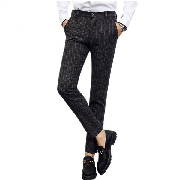 gray men stripe pants Asia size 28 - 40 men pant Fashion casual mens trousers