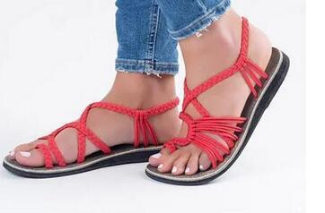 Büyük boy bayan ayakkabıları dış ticaret 2019 yeni stil bayan açık taban ve ayak parmakları ile düz taban sandalet yaz ile karıştırmadan önce ve sonra