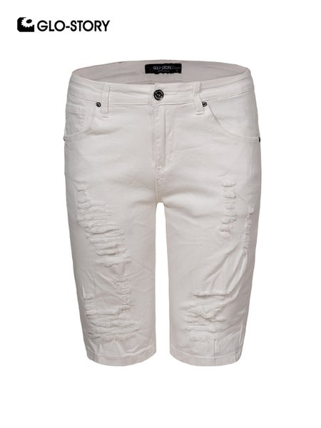 GLO-STORY Brand High Quality White Jeans Men Hip Hop Fashion Distressed Ripped Jeans Shorts Male Knee Length Denim Pants 8190