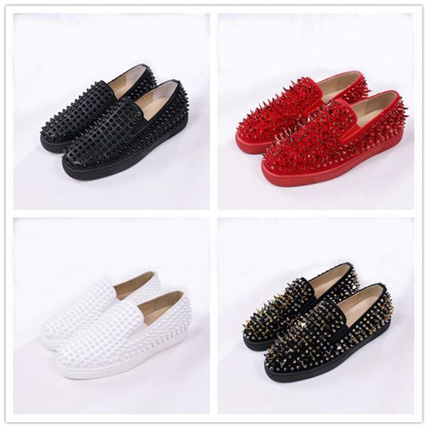 Sapatos de grife Mocassins planos dos homens de rolo vermelho plataforma inferior Casual Spikes Mulheres Sandálias Spikers Formadores Sapatos de festa de casamento azul preto