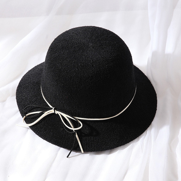 Sweet Bow Bucket Hat Female Japanese-Style Bucket Hat Spring Foldable Artistic College Style Circle Sand Straw