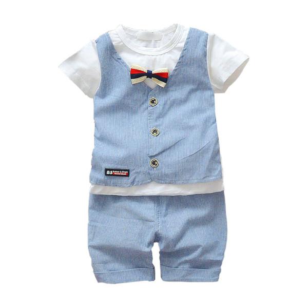 Summer Infant Newborn Cotton Clothes Children Boys Girls Gentlemen T-shirt Shorts 2Pcs/Set Kids Handsome Clothing Sets Tracksuit