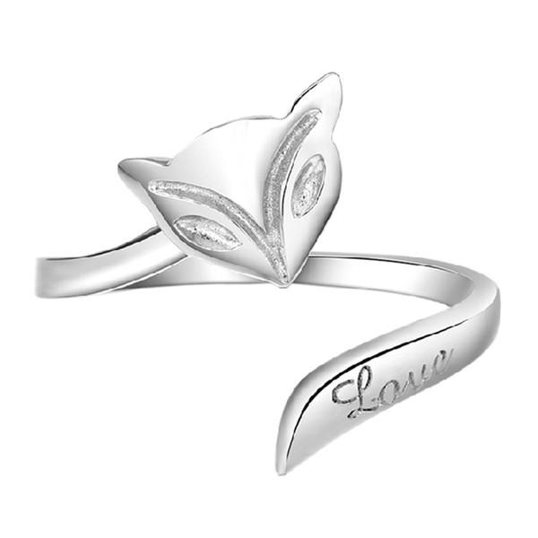 Los amantes de las mujeres al por mayor estilo caliente del anillo del anillo de plata del zorro suenan la versión coreana de joyería femenina (apertura ajustable)
