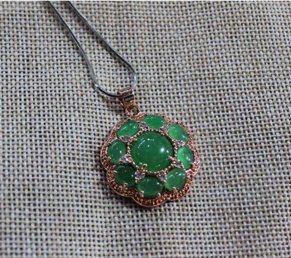 Bijoux fins en argent incrusté de jade vert naturel rond pendentif livraison gratuite