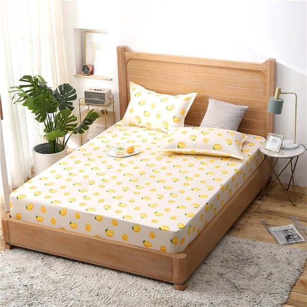 Yellow Lemon Fruit Printed Mattress Cover Four Corners with Elastic Band Polyester Fitted Sheet Printing Bedding Bed Sheet