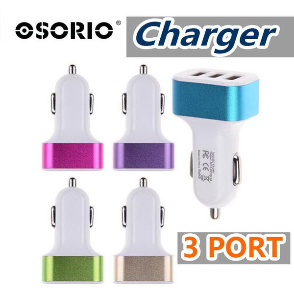 NEW 3 USB port universal metal car charger 5V 2.1A colorful car adapter support for 3 devices for cellphones for tablets