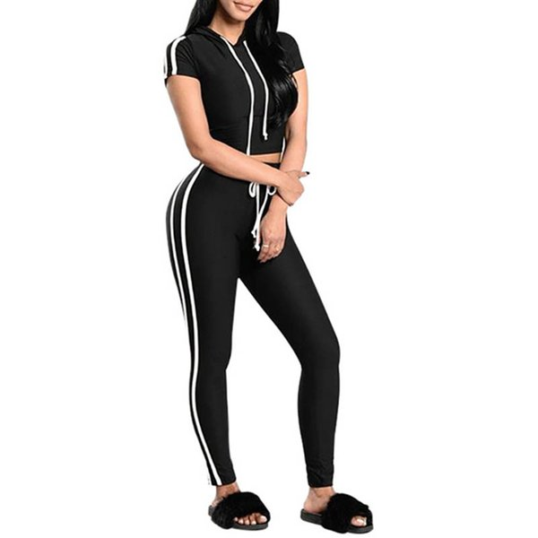 New Sexy Women Fitness Yoga Set Gym Sports Running Hooded Tracksuit Jogging Dance Sport Suit Workout T-Shirt Pants Set